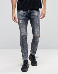 Sixth June Skinny Biker Jeans With Ripped Knees Black