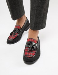 Truffle Collection Tartan Loafer In Black And Red