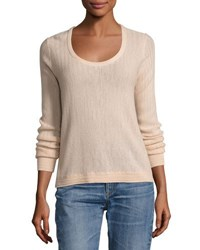 Rag And Bone Estelle Herringbone Cashmere Scoop Neck Sweater Ivory Pink