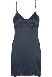 Stella Mccartney Rosie Dreaming Leavers Lace Trimmed Stretch Silk Satin Chemise Blue