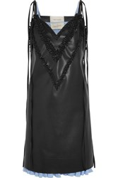 Cedric Charlier Ruffle Trimmed Faux Leather Dress Black