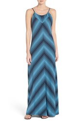 Women's Patagonia 'Kamala' Cotton Blend Maxi Dress Reflection Stripe Navy Blue