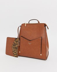 Dune Tan Backpack With Tiger Print Pouch