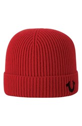 True Religion Men's Brand Jeans Rib Knit Cap Red True Red