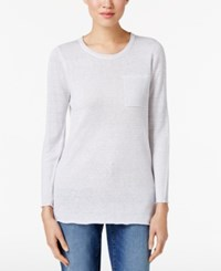 Eileen Fisher Organic Linen Tunic White Dark Pearl