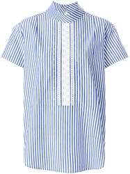 Paul Smith Ps By Short Sleeve Striped Blouse Blue