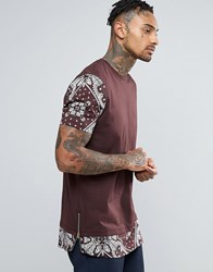Asos Super Longline T Shirt With Bandana Print Sleeves And Hem Oxblood Red