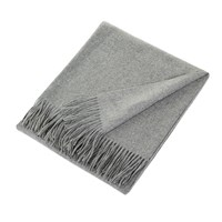 Sofia Cashmere Trentino 2 Ply Fringed Throw Grey