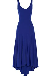 Milly Loretta Asymmetric Crepe De Chine Gown Blue
