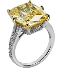 Carat Grand Emerald 8Ct Cocktail Ring Yellow
