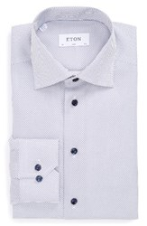 Eton Men's Big And Tall Slim Fit Dot Dress Shirt White Navy
