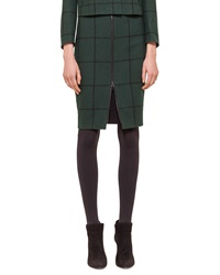 Akris Punto Zip Front Checked Pencil Skirt
