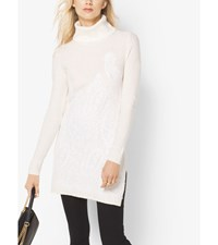 Lace Embroidered Turtleneck Tunic Ecru