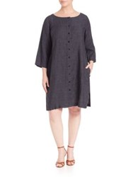 Eileen Fisher Plus Size Organic Linen Bateau Neck Dress Denim