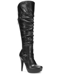 G By Guess Women's Drea Platform Wide Calf Dress Boots Women's Shoes Black