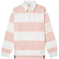 Thom Browne Oversized 4 Bar Rugby Shirt Pink