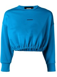 Dsquared2 Logo Print Cropped Sweater Blue