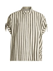 The Great Tie Sleeve Big Striped Cotton Shirt Black White