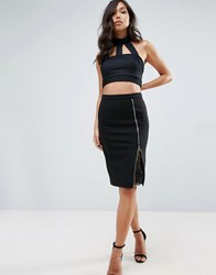 Lipsy Pencil Skirt With Lace Insert Black