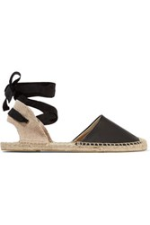 Soludos Lace Up Leather Espadrilles Black