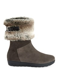 Aquatalia By Marvin K Willow Suede Faux Fur Boots Dark Grey