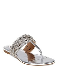 Badgley Mischka Trent Embellished Metallic Leather Thong Sandals Silver