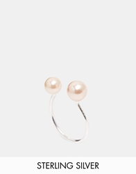 Asos Sterling Silver Faux Pearl Open Ring Pink