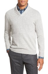 Men's Big And Tall Nordstrom Shawl Collar Cashmere Pullover Grey Light Heather