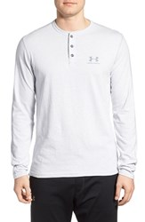 Men's Under Armour 'Sportstyle' Long Sleeve Charged Cotton Henley Grey Heather