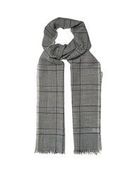 Lanvin Prince Of Wales Checked Linen Blend Scarf Grey Multi