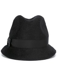 Borsalino Patch Detail Trilby Hat Black