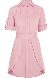 Halston Layered Stretch Cotton Shirt Dress Pink