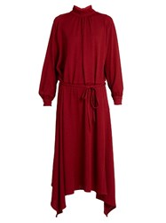 Golden Goose Gabi Asymmetric Hemline Crepe Dress Red