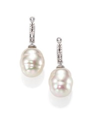 Majorica 14Mm White Baroque Pearl And Sterling Silver Huggie Drop Earrings