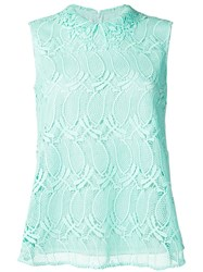 Giamba Sleeveless Lace Blouse Green