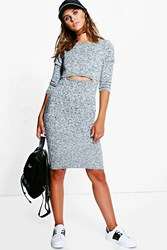 Boohoo Esme Key Hole Detail Knitted Midi Dress Cream