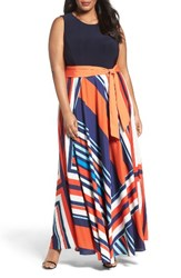 Eliza J Plus Size Women's Tile Print Jersey And Crepe Maxi Dress
