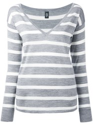 Eleventy Striped Knit Top Women Silk Merino M Grey