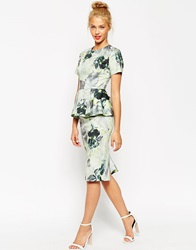 Asos Short Sleeve Peplum Dress In Floral Print Green