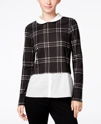 Maison Jules Layered Look Plaid Top Only At Macy's Black Combo