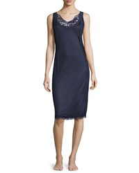 La Perla Whisper Short Low Back Nightgown W Lace Size 2 Small Dark Blue