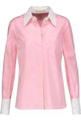 Michael Kors Collection Broderie Anglaise Trimmed Pinstriped Cotton Blend Shirt Baby Pink