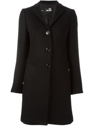Love Moschino Heart Plaque Detail Coat Black