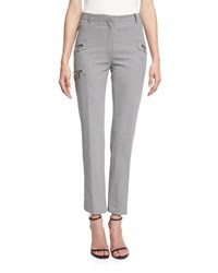 Thierry Mugler Cropped Houndstooth Pants W Zip Trim Navy Off White