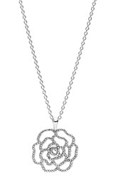 Pandora Design Women's Pandora 'Shimmering Rose' Pendant Necklace Silver Clear