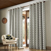 Orla Kiely Linear Stem Eyelet Curtains Silver Grey