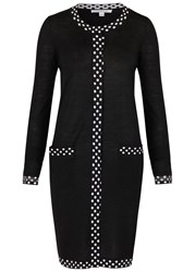 Diane Von Furstenberg Carmel Polka Dot Timmed Wool Blend Cardigan Black And White
