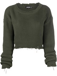 Dsquared2 Printed Logo Cropped Jumper Green