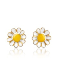 A Z Collection Garden Line Daisy Enamel Earrings Yellow