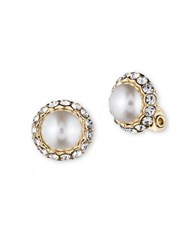 Anne Klein Pearl And Glitz Clip Earrings Gold